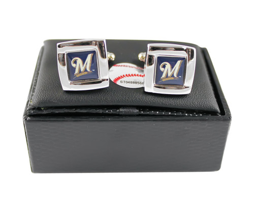 MLB Milwaukee Brewers Square Cufflinks with Square Shape Engraved Logo Design Gift Box Set