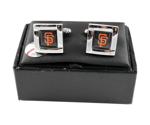 MLB SF SAN Francisco Giants Square Cufflinks with Square Shape Engraved Logo Design Gift Box Set