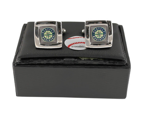 MLB Seattle Mariners Square Cufflinks with Square Shape Engraved Logo Design Gift Box Set