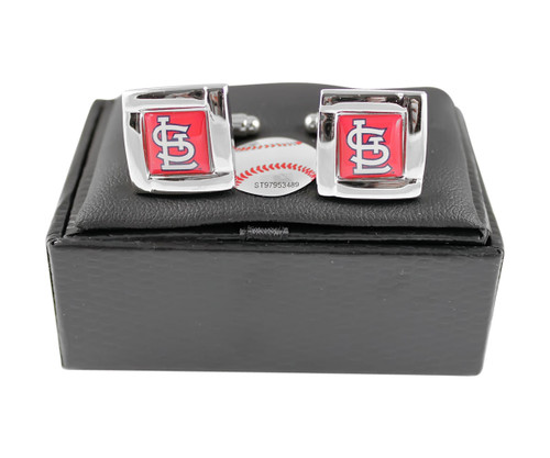 MLB St Louis Cardinals Square Cufflinks with Square Shape Engraved Logo Design Gift Box Set