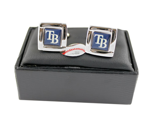 MLB Tampa Bay Rays Square Cufflinks with Square Shape Engraved Logo Design Gift Box Set