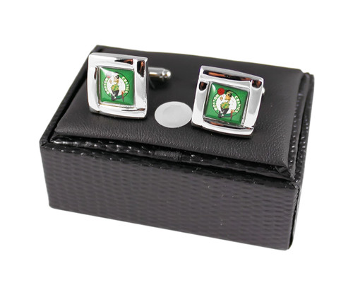 NBA Boston Celtics Square Cufflinks with Square Shape Engraved Logo Design Gift Box Set