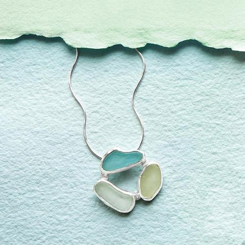 3 Stone Sea Glass Necklace