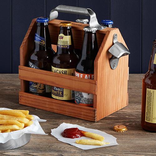 Wooden Beer Caddy With Bottle Opener