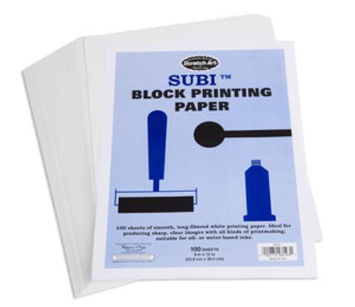 "Scratch Art Subi Block Printing Paper White (100 sheets 9"" x 12"")"