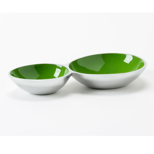 2 Compartment Snack Bowl - Green