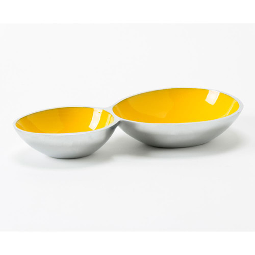 2 Compartment Snack Bowl - Yellow