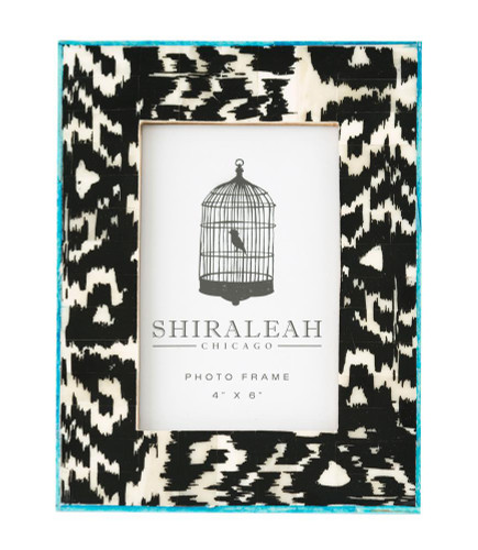 "4"" X 6"" Black Ikat Hand-Painted Picture Frame"
