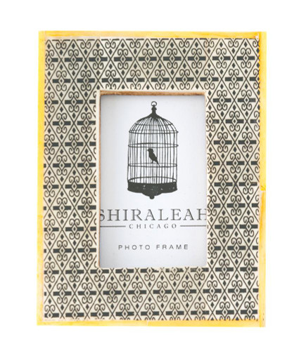 "2"" X 3"" Grey Block Print Hand Painted Picture Frame With Yellow Border"