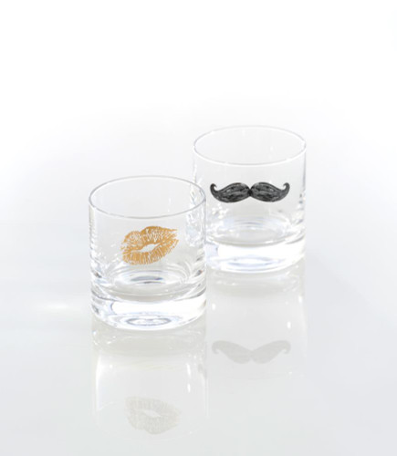 """A Tickle And A Kiss"" Set Of 2 Bar Glasses"