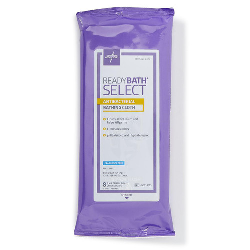 ReadyBath SELECT Medium-Weight Antibacterial Bathing Cloths Un-scented