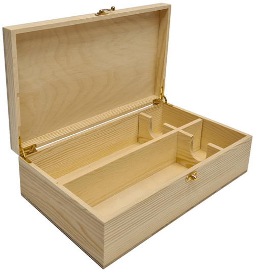 Wooden Box Double Bottle Hinged Lid