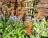 fern stake  metal black and  copper in garden