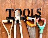 metal tools rack with garden items