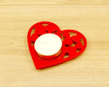 red heart tealight holder