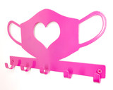 pink heart metal  mask holder wall mounted