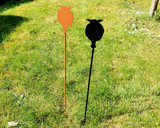 Poppy head metal garden stake black, copper in garden