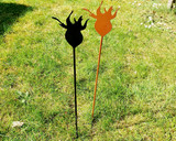 rose hip metal garden stake in garden