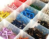 box of multi coloured screws