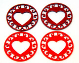 red metal heart coasters