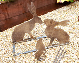 Metal Hare family garden sculpture