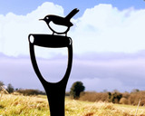 black wren on spade metal garden sculpture