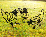 set of 3 hen chicken metla garden art