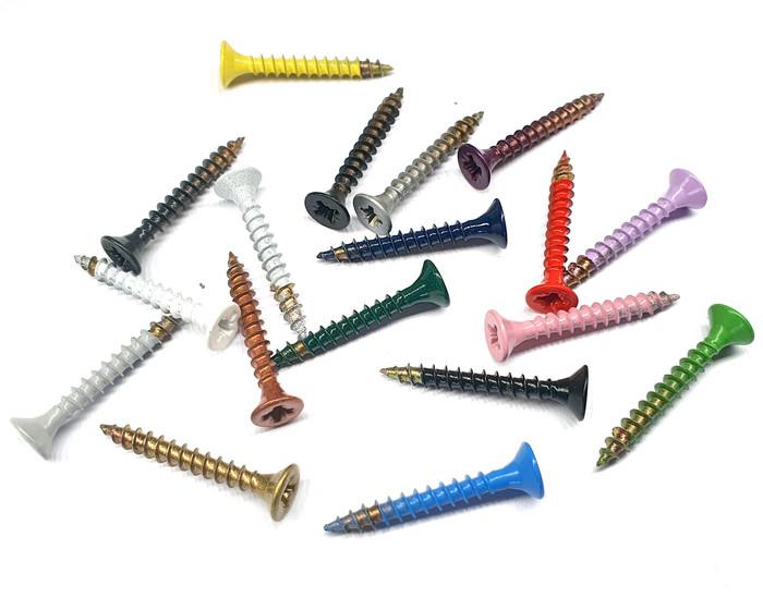 multi coloured screws
