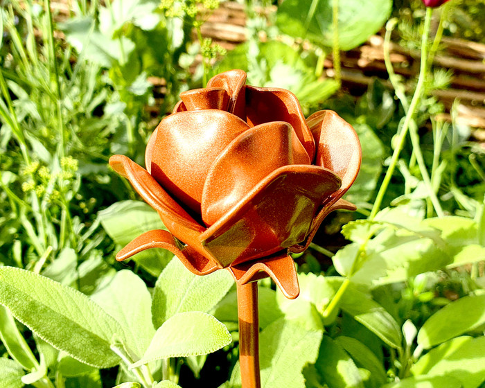 metal rose in garden copper
