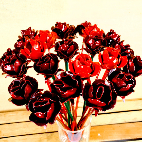 bunch of metal red roses