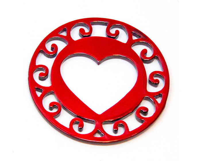 red metal heart coaster