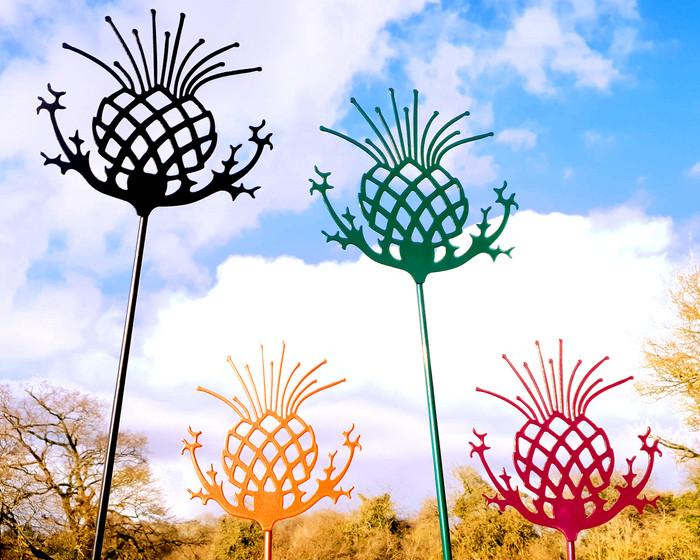 4 thistle sculptures