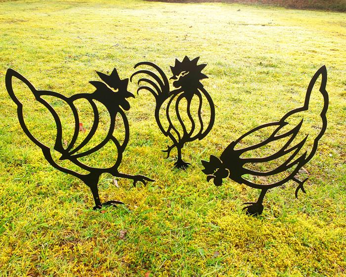 set of 3 hen chicken metla garden art