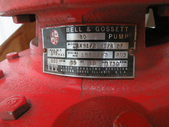"""Bell & Gossett 80 End Suction Pump 4""""In/Out Cast Iron 350GPM@55ft ! NOP !"""