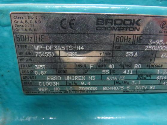 Brook Crompton 75HP 55kW 1785RPM 575V 365T TEFC 3Ph 67.6A 60Hz ! WOW !