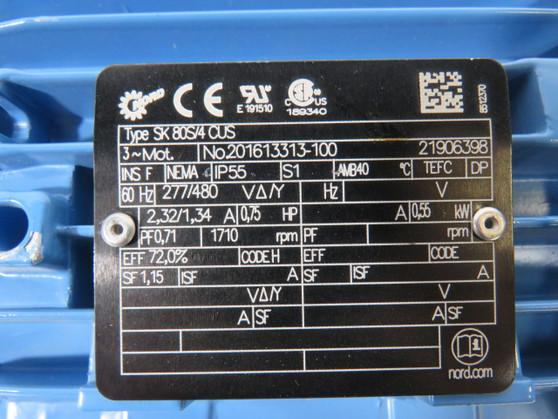 Nord Gear Motor .75HP .55kW 1710rm 277/480V 80L TEFC 3Ph 2.32/1.34 60Hz. ! NOP !