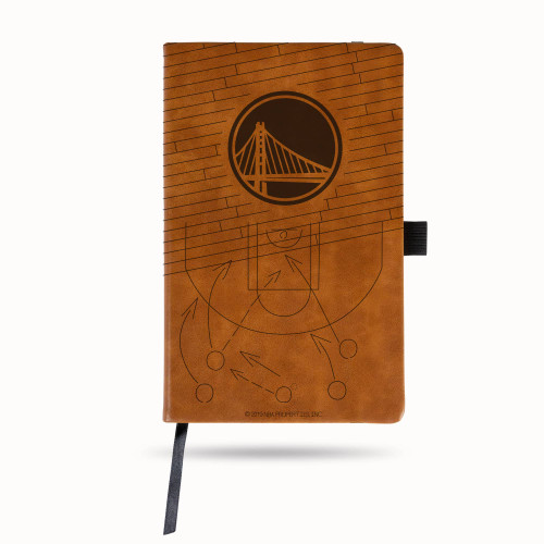 Warriors Laser Engraved Brown Notepad With Elastic Band