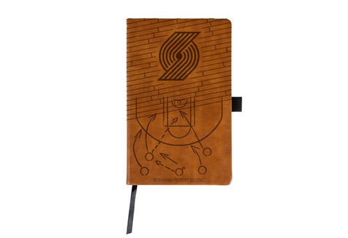Trail Blazers Laser Engraved Brown Notepad With Elastic Band