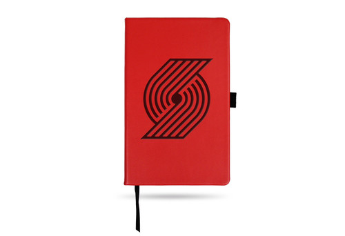 Trail Blazers Team Color Laser Engraved Notepad W/ Elastic Band - Red