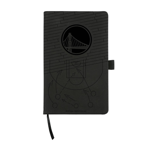 Warriors Laser Engraved Black Notepad With Elastic Band