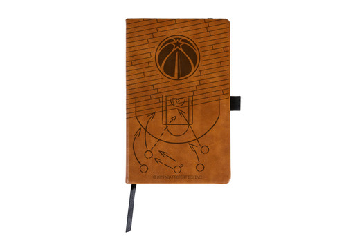 Wizards Laser Engraved Brown Notepad With Elastic Band
