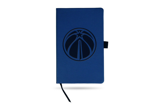 Wizards Team Color Laser Engraved Notepad W/ Elastic Band - Royal