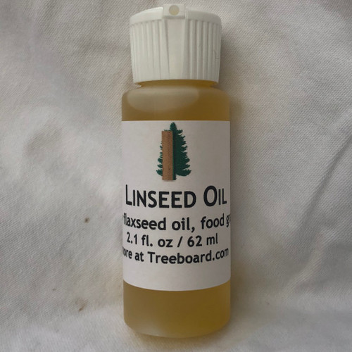 Raw (unprocessed) linseed oil / flaxsweed oil. Two ounces in recyclable plastic container with flip top.
