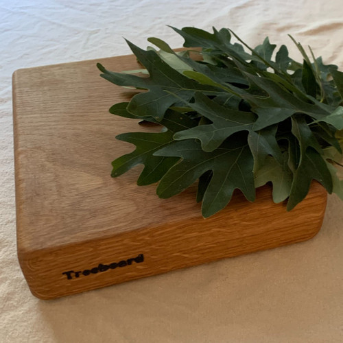 Small white oak cutting board by Treeboard with white oak leaves. Quercus alba.