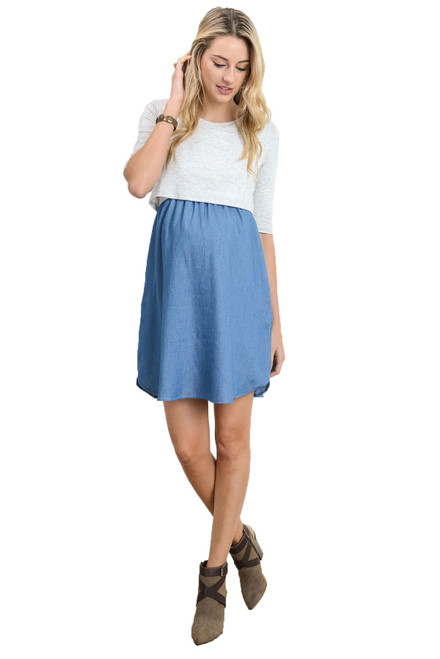 Ivory Denim Nursing Dress