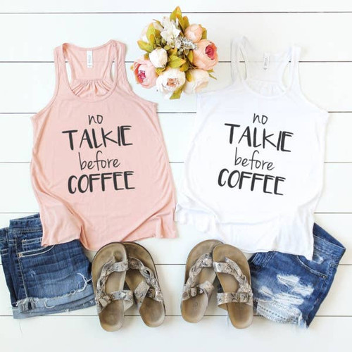 Coffee Graphic Tank Top -Raspberry Pink
