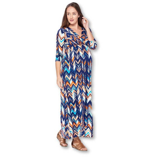 Navy and Orange Patterned Maxi