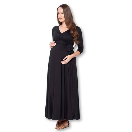 Black Wrapped Ruched maternity Maxi