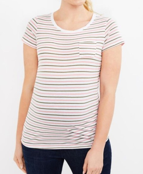 Pink White & Gray striped Basic Tee