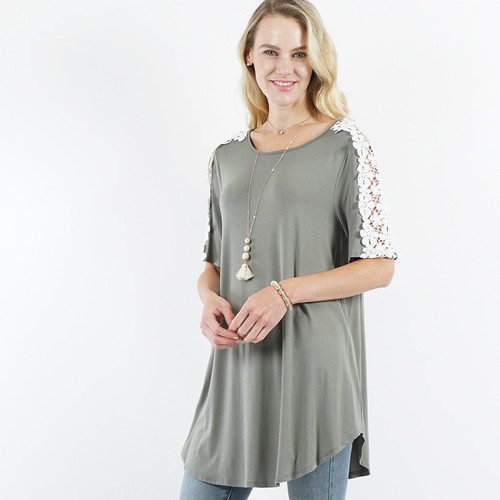 Crew neck Shoulder Flower Crochet Tunic
